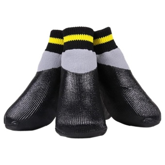 4pcs Pet Boots Socks Medium Dog Waterproof Rain Shoes Non-slip Rubber Puppy (Black) (XL) - intl
