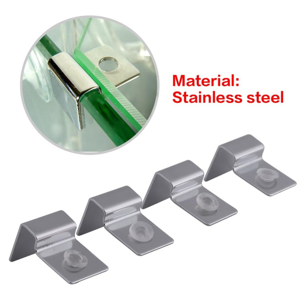 ... 4PCS/Set Stainless Steel Aquarium Fish Tank Glass Cover ClipSupport Holder(6mm) ...