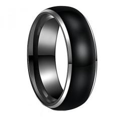 8mm Tungsten Hitam dan Perak Cincin untuk Pria High Polish Dome Dua Nada Cincin Pernikahan-Intl