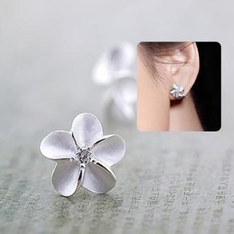 925 perak 925 prem bunga kristal giwang memasang anting-anting hadiah perhiasan wanita - 4