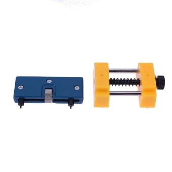 Adjustable Watch Back Case Opener+ Watch Holder Repair Tool Set (Yellow + Blue) - intl