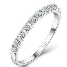 Ai Home Wanita cincin kawin perak berlapis simulasi perhiasan cincin berlian XL