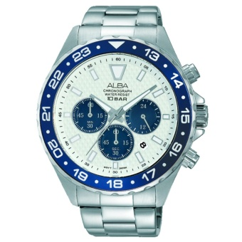 Alba Chronograph - Jam Tangan Pria - Tali Stainless Steel - Silver - AT3909X1