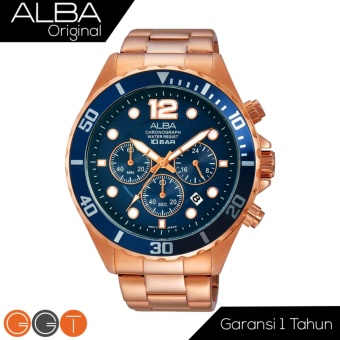 Alba Chronograph Jam Tangan - Strap Stainless Steel - AT3904X1 - Gold Blue