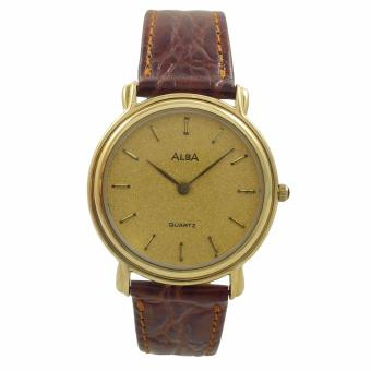 ALBA Jam Tangan Pria - Brown Gold - Leather Strap - ATA24J