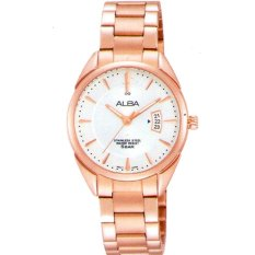 Alba - Jam Tangan Wanita - Rosegold-Putih - Stainless Steel - AH7H56X1