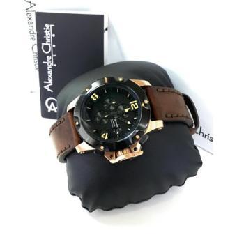 Alexandre Christie - AC 6295 - Jam Tangan Pria - Leather Strap - Rosegold Original