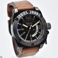 Alexandre Christie AC-6456 Leather Strap Brown Black