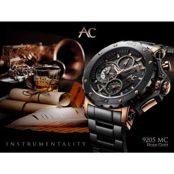 Alexandre Christie- AC 9205 MC- Jam tangan Pria- Stainless Stell -Black Rose Gold