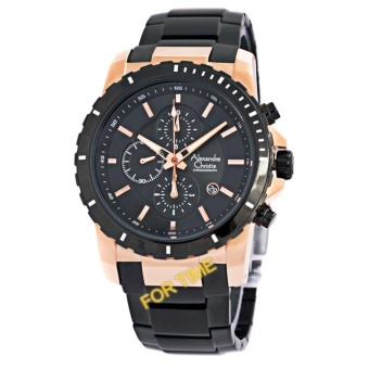 Alexandre Christie AC6141MC Jam Tangan Pria Stainless Steel Hitam Rose Gold