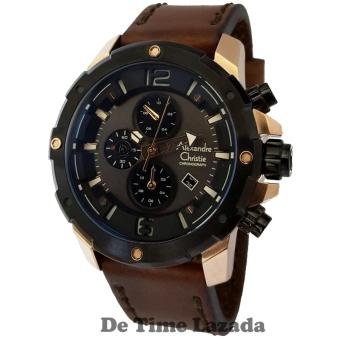 Alexandre Christie AC6410MCG Jam Tangan Pria Strap Leather Coklat Rose Gold
