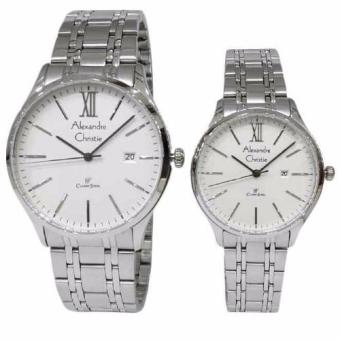 Alexandre Christie Classic Steel 8504LMDBSSSL Jam Tangan Couple -Silver