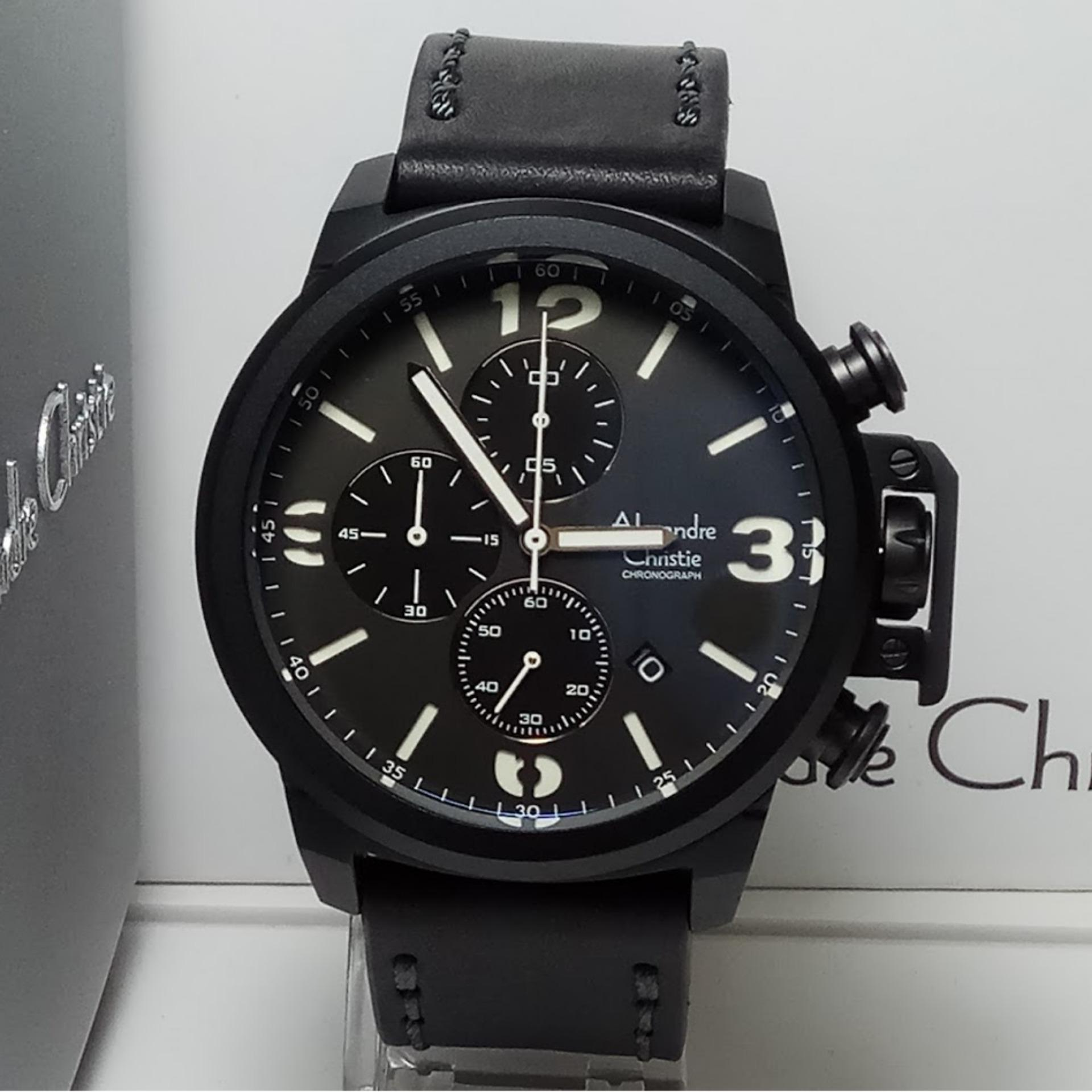 Alexandre Christie Ac6455m Jam Tangan Pria Stainless Steel Biru Armani Exchange Men Chronograph Ac6280mc Black Leather