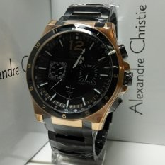 Alexandre Christie Jam Tangan Pria Alexandre Christie AC6441MC Chronograph Black Rosegold Stainless Steel