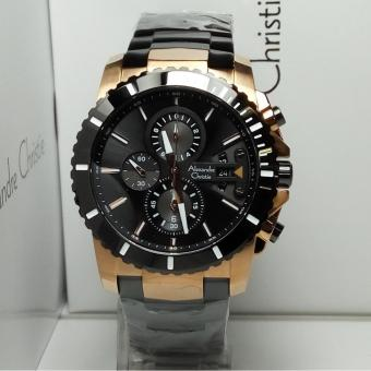 Alexandre Christie Jam Tangan Pria Alexandre Christie AC6455MC Chronograph Black Rosegold Stainless Steel