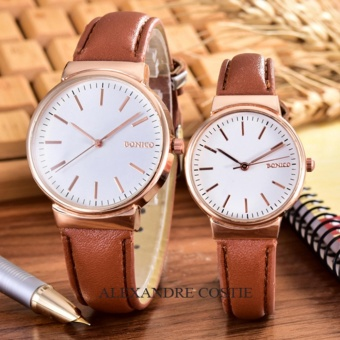 Alexandre Costie - Bonico - Jam Tangan Pria dan Wanita - Body Rose Gold - White - Dial - Brown Leather Strap - Bonico-2868C-GL-RGW-Couple - Brown Leather Strap