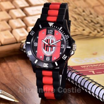 Alexandre Costie Jam Tangan Pria Body Black - Red/Black Dial -BlackRed Rubber Band - AC-RK-ACM-006M-Black-Red/Black-BlackRed Rubber Band