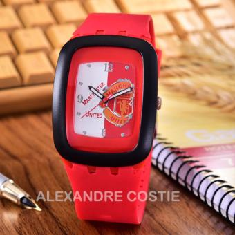Alexandre Costie Jam Tangan Pria Body Black - White/Red Dial Rubber Band - AC-RK-MU-006E-Red-Rubber Band