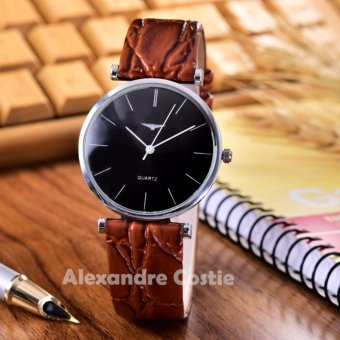 Alexandre Costie - Jam Tangan Unisex - Body Silver - Black Dial - kulit Coklat - AC-6020E-SB-Brown Leather Strap