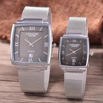 Alexandre Costie Original Brand, Jam Tangan Pria & Wanita - Body Silver - Black Dial - Stainless Stell Mesh Band - AC-RT-2343A-GL-TGL-SB-Stainless Steel Mesh Band -COUPLE