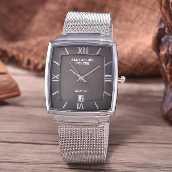 Alexandre Costie Original Brand, Jam Tangan Pria - Body Silver - Black Dial - Stainless Stell Mesh Band - AC-RT-2343A-G-TGL-SB-Stainless Steel Mesh Band-CL