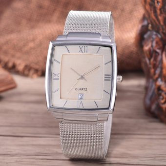 Alexandre Costie Original Brand, Jam Tangan Pria - Body Silver - White Dial - Stainless Stell Mesh Band - AC-RT-2343B-G-TGL-SW-Stainless Steel Mesh Band