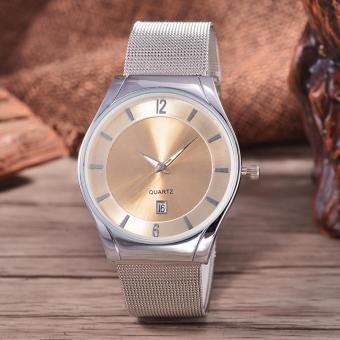 Alexandre Costie Original Brand, Jam Tangan Pria - Body Silver - White Dial - Stainless Stell Mesh Band - AC-RT-5266B-G-TGL-SW-Stainless Steel Mesh Band