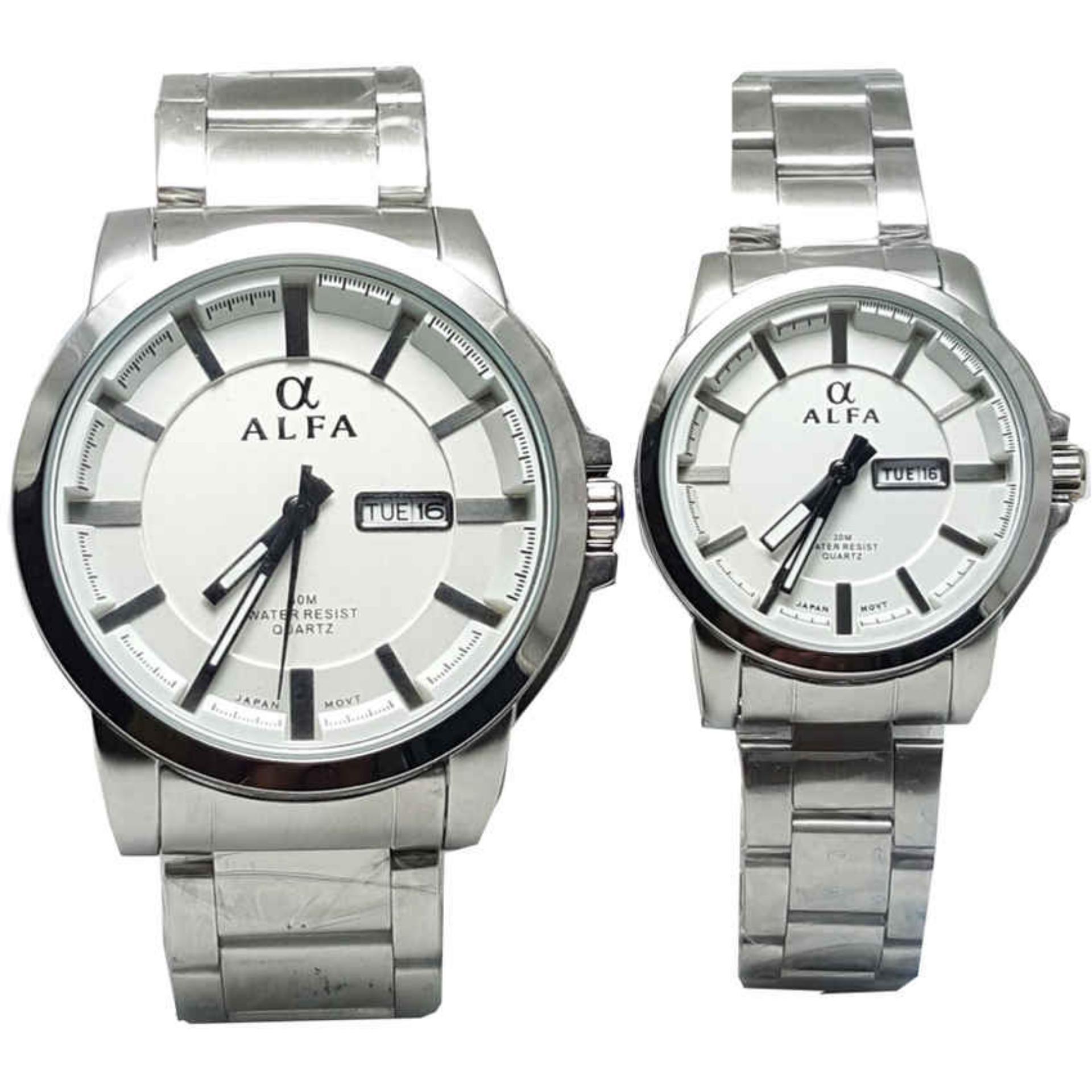 ... Alfa watch ALF099 Jam Tangan Couple Strap Stainless Steel Silver Tanggal Hari Lazada Indonesia