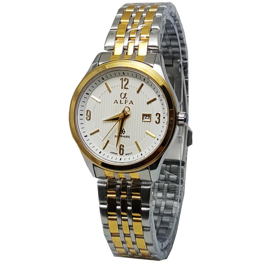 Alfa watch Jam Tangan wanita - Strap Stainless Steel - Silver - Kaca Safir -Tanggal