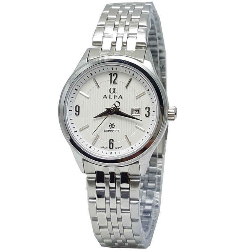 Alfa watch Jam Tangan Wanita - Strap Stainless Steel - Silver - Kaca Sfir -Tanggal - ALF222