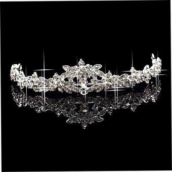 Allwin Mengilap Kristal Berlian Imitasi Klasik Mahkota Tiara Prom Pernikahan Pengantin Wanita Ikat Kepala