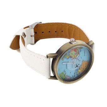 Allwin Women Men Fashion Vintage Casual World Map Dial Analog Quartz Wrist Watch White