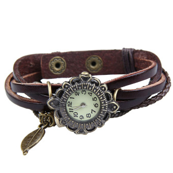 Amart Women Vintage Braided Rope Faux Leather Wrap Quartz Bracelet Wrist Watch Dark Brown - intl