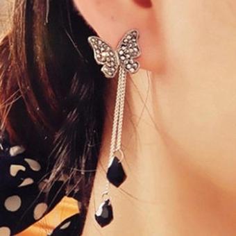 ... Daun Asimetris Asymmetric Leaf Clip Dangle Earring Beauty. Source · Amefurashi Anting Korea Butterfly Long Tassel Dangles Rhinestone Stud Earring