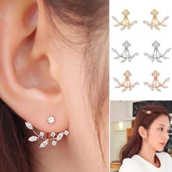 Amefurashi Anting Korea Daun Kristal Crystal Leaf Rhinestone Curved Clip Earring
