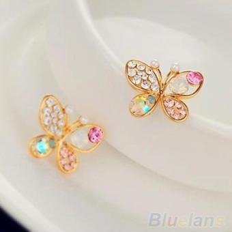 Amefurashi Anting Korea Ladies Lovely Crystal Rhinestone Butterfly Stud Earring - 3