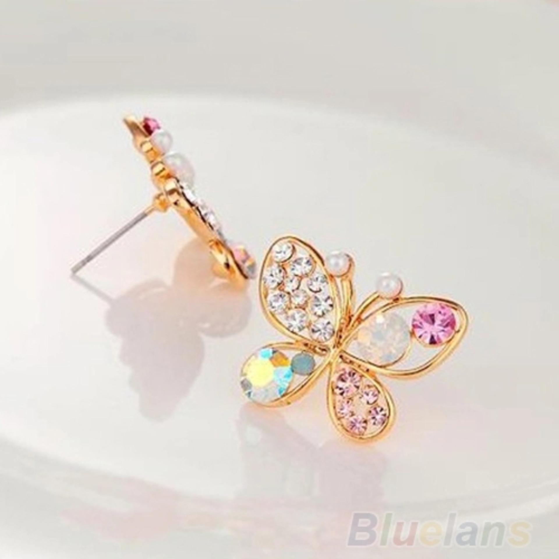 Amefurashi Anting Korea Ladies Lovely Crystal Rhinestone Butterfly Stud Earring .