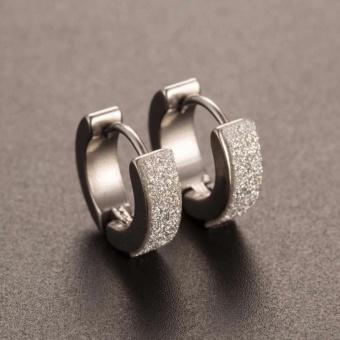 Amefurashi Anting Stainless Steel Hoop Piercing Round Crystal Stud Earring