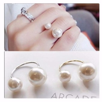 Amefurashi Cincin Manik Manik Big Small Two Beads Finger Ring
