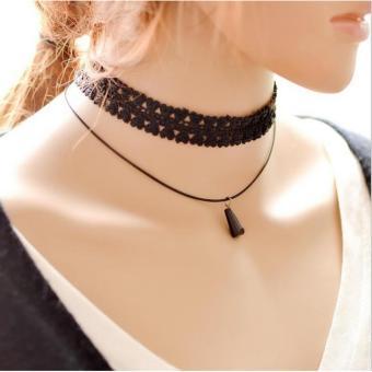 Gambar Amefurashi Kalung Cantik Manis Choker A31 Black Lace Pendant Vintage Necklace