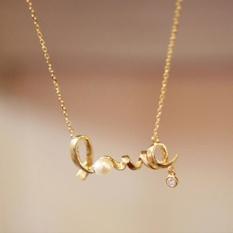 Amefurashi Kalung Clavicle Love Gold Necklace
