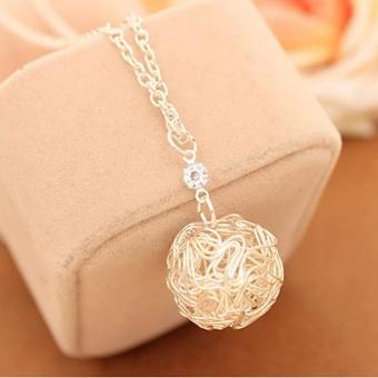 Amefurashi Kalung Korea Bola Silver Hollow Ball Beauty