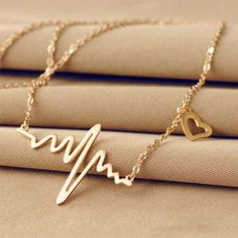 Amefurashi Kalung Korea ECG Heartbeat Silver and Gold Pendant Necklace
