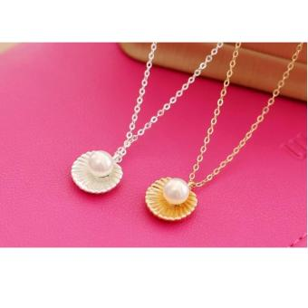 Amefurashi Kalung Korea Kerang Beauty White and Gold Sea Shells - 2