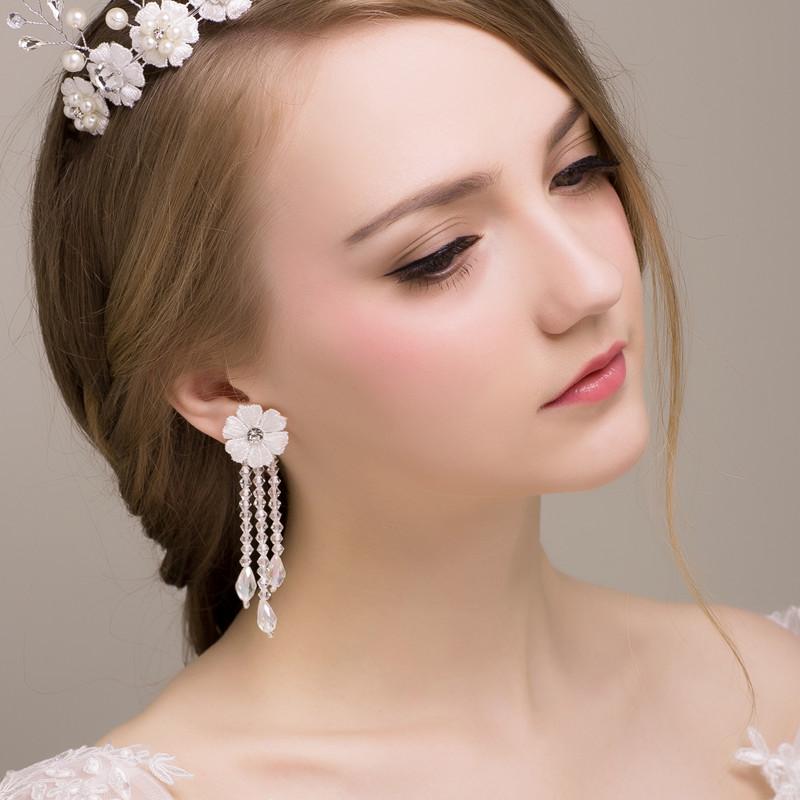 ... Model Korea Batu Kristal Air Mempelai Wanita Kalung Anting Menikah Gaun Pengantin 2Pcs Set