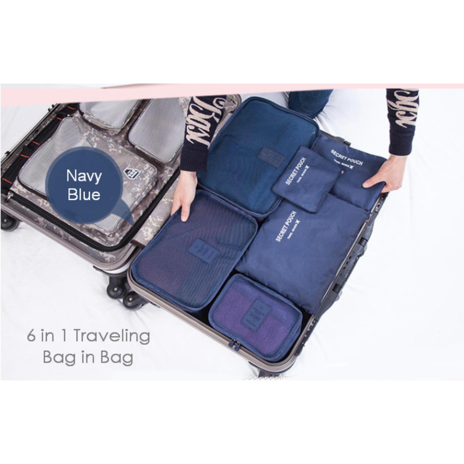 kirim random sesuai barang yang ready Anabelle New 6 In 1 Korean Travel Bag In Bag (1 Set Isi 6 Pcs