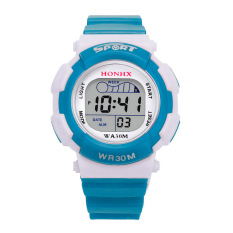 Anak LED Digital School Sports Waterproof Alarm Jam Tangan (Biru Muda)-Intl