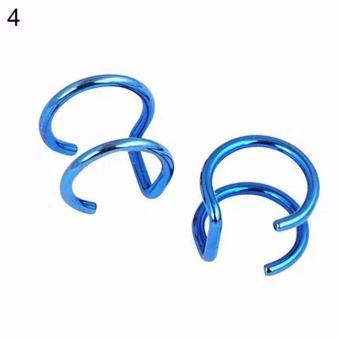 Gambar Anneui EE0110 earrings giwang anting jepit tanpa tindik Blue