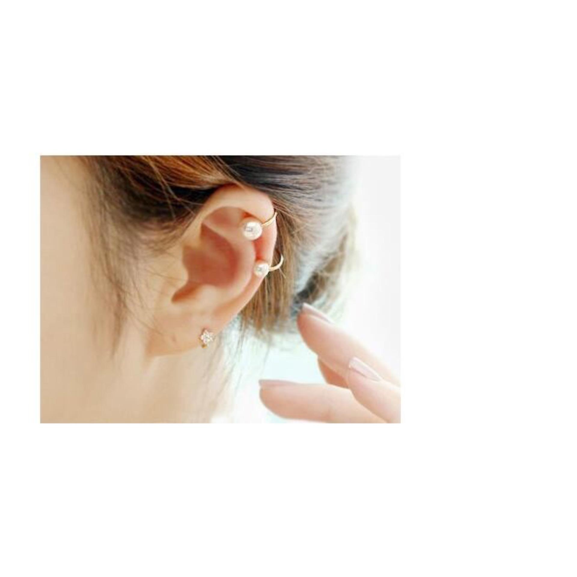 Amefurashi Anting Korea Daun Asimetris Asymmetric Leaf Clip Dangle Earring Beauty - 3. Source · Anting Pear Mutiara jepit Clip earring .