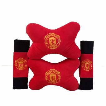 Bantal Mobil 2 in 1 / Bantal Leher / Car Set 2in1 - Manchester United /